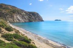 Ansicht von Laganas-Bucht vom Kalamaki-Strand auf Zakynthos Lizenzfreie Stockfotos
