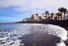 Ansicht von Las Amerika setzen in Süd-Teneriffa, Kanarische Inseln, Spanien auf den Strand Stockbild