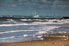 Ansicht von Le Have und leeren Strand in Normandie Frankreich lizenzfreie stockbilder