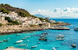 Ansicht von Levanzo-Insel, ist der drei Aegadian-Inseln im Mittelmeer von Sizilien das kleinste Lizenzfreie Stockfotografie