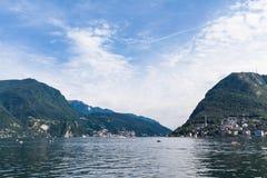 Ansicht von Lugano See Stockfotografie