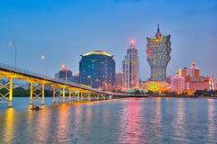 Ansicht von Macao-Stadtskylinen nachts Lizenzfreie Stockfotos