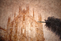 Ansicht von Mailand auf einem Weinlesepapier Stockfoto