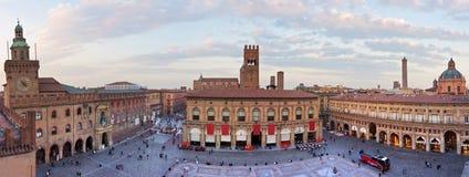 Ansicht von Marktplatz maggiore - Bologna lizenzfreie stockfotos