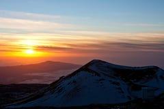 Ansicht von Mauna Kea am Sonnenuntergang Lizenzfreies Stockfoto