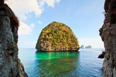 Ansicht von Maya Bay, Thailand Stockbild