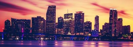 Ansicht von Miami bei Sonnenuntergang, spezielle photographische Verarbeitung stockfoto