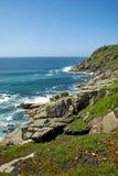 Ansicht von Minack, Cornwall, das Meer und die wilden Blumen übersehend Lizenzfreie Stockfotos