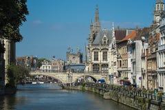 Ansicht von mittelalterlichem Gent Stockbild