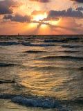 Ansicht von Mittelmeer bei Sonnenuntergang stockfotografie