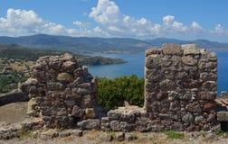 Ansicht von Molyvos-Schloss Stockfotografie