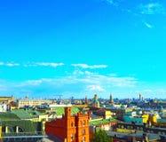 Ansicht von Moskau von der Aussichtsplattform auf dem Lubyanka des Speicher Kind-` s Shops Stockfotos
