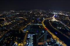 Ansicht von Moskau mit hohen Gebäuden Stockbilder