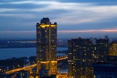 Ansicht von Moskau mit hohen Gebäuden Stockbild