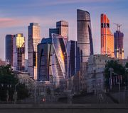 Ansicht von Moskau-Stadt, das moderne Moskau im Stadtzentrum gelegen stockbilder