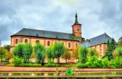 Ansicht von Moyenmoutier-Abtei in der Vosges-Abteilung - Frankreich Stockbild