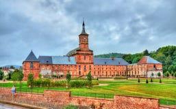 Ansicht von Moyenmoutier-Abtei in der Vosges-Abteilung - Frankreich Stockfotos