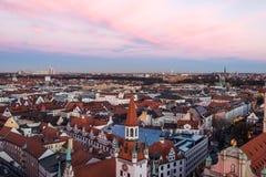 Ansicht von Munchen vom Turm des St Peter Lizenzfreie Stockbilder