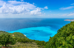 Ansicht von Myrtos-Strand stockbild
