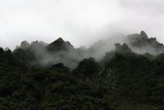 Ansicht von nebeligen Bergen, an Fox-Gletscher, Neuseeland stockbild