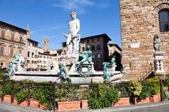 Ansicht von Neptun fontain nahe Palast Vecchio Stockfotografie