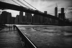 Ansicht von New York City, USA, Brooklyn-Brücke Lizenzfreie Stockfotos