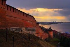 Ansicht von Nischni Nowgorod der Kreml auf Sonnenuntergang Stockbild