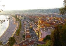 Ansicht von Nizza, Promenade des Anglais, Taubenschlag d ` Azur, französisches Riviera, Mittelmeer, Frankreich Stockfotografie