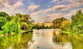 Ansicht von Novodevichy-Teich in Moskau Lizenzfreies Stockfoto