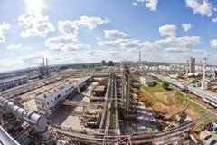 Ansicht von oben genanntem des Gebiets besetzt durch die Raffinerie Stockfotografie