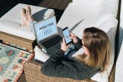 Ansicht von oben Junge Geschäftsfrau sitzt auf weißer Couch, unter Verwendung des Laptops mit Aufschriftanalyse auf Schirm Stockfotos