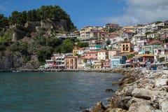 Ansicht von Parga-Stadt, Epirus Stockfotos