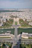 Ansicht von Paris von der Oberseite des Eiffelturms. Lizenzfreie Stockfotografie