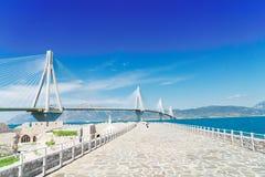 Ansicht von Patras- und Rio Antirrio-Brücke Stockfotografie