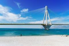 Ansicht von Patras- und Rio Antirrio-Brücke Lizenzfreie Stockfotografie