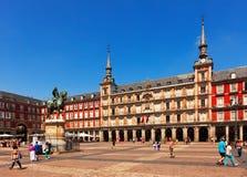 Ansicht von Piazza-Bürgermeister Madrid, Spanien Stockbild