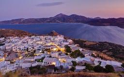 Ansicht von Plaka am Sonnenuntergang, Milos Stockfotografie
