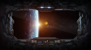 Ansicht von Planet Erde aus einer Raumstation heraus vektor abbildung