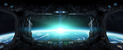 Ansicht von Planet Erde aus einer Raumstation heraus stock abbildung