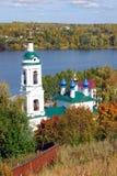 Ansicht von Ples-Stadt, Russland Heiliges Barbara Church Lizenzfreie Stockfotos