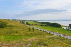 Ansicht von Pleshcheyevo See und von Stadt von Pereslavl-Zalessky vom Alexander-Berg-Yarilina-plesh lizenzfreie stockbilder