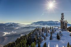 Ansicht von Postavarul-Spitze, Brasov, Siebenbürgen, Rumänien lizenzfreies stockbild