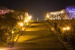 Ansicht von Potemkin-Treppe und von Monument zu Duke de Richelieu Odessa, Ukraine 18. März 2016 Lizenzfreie Stockfotografie