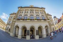 Ansicht von Rathaus in Liberty Square, Novi Sad, Serbien Lizenzfreies Stockfoto