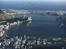 Ansicht von Rio de Janeiros Lagunen- und Leblon- und Ipanema-Bezirken Stockfotografie
