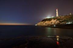 Ansicht von Rosh Hanikra von Achziv-Strand Stockfoto