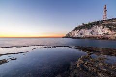 Ansicht von Rosh Hanikra von Achziv-Strand Lizenzfreie Stockbilder