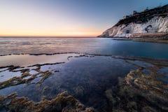 Ansicht von Rosh Hanikra von Achziv-Strand Lizenzfreies Stockfoto