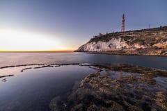 Ansicht von Rosh Hanikra von Achziv-Strand Stockfotos