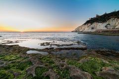 Ansicht von Rosh Hanikra von Achziv-Strand Stockfotografie